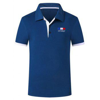 Buy Trendy Turn-down Collar Purfled Design Fitted Men's Short Sleeves Polo T-Shirt SAPPHIRE BLUE