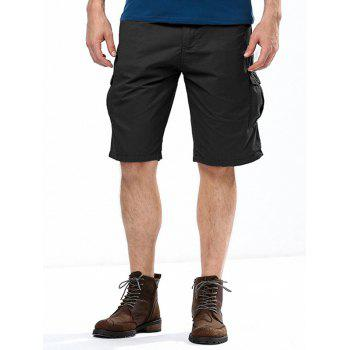 Summer Straight Leg Multi-Pocket Solid Color Fitted Men's Zipper Fly Cargo Shorts BLACK