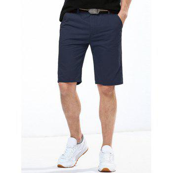 Casual Solid Color Button Embellished Men's Straight Leg Zipper Fly Shorts