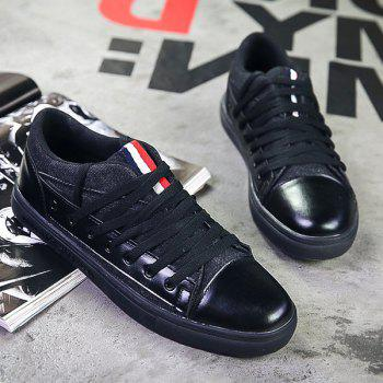 Stylish Tie Up and Stripes Design Men's Canvas Shoes - BLACK 41