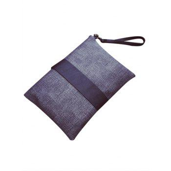 Simple Colour Block and PU Leather Design Women's Clutch Bag -  GRAY