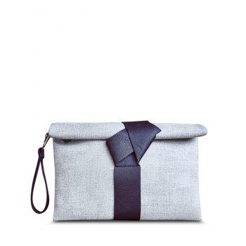 Simple Colour Block and PU Leather Design Women's Clutch Bag - GRAY GRAY