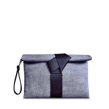 Simple Colour Block and PU Leather Design Women's Clutch Bag - BLACK BLACK