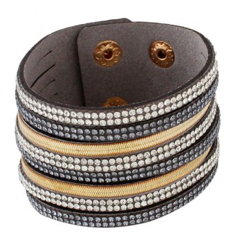 Faux Leather Layered Rhinestone Bracelet