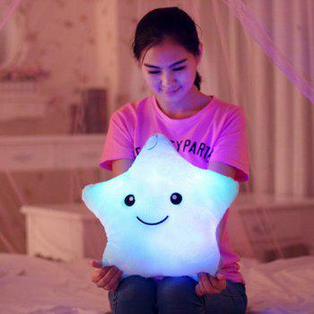 Stylish Lucky Star Shape Gift Luminous Smiling Face Musical Pillow