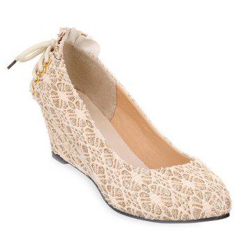 Trendy Lace-Up and Lace Design Women's Wedge Shoes - GOLDEN GOLDEN