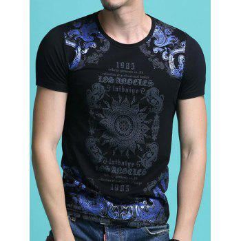 Fashion Round Neck Letters Totem Printing Slimming Men's Shorts Sleeves T-Shirt