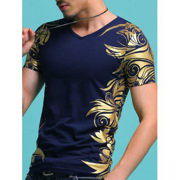 Slimming V-Neck Golden Totem Pattern Men's Short Sleeves T-Shirt