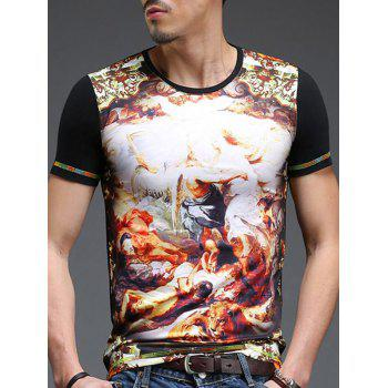 Fashion Round Neck Figure Pattern Printed Slimming Men's Short Sleeves T-Shirt