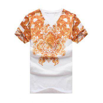 National Style V-Neck Abstract Pattern Slimming Men's Short Sleeves T-Shirt