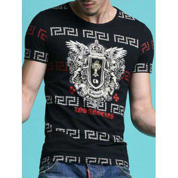Geometric and Abstract Pattern Slimming Men's Round Neck Short Sleeves T-Shirt