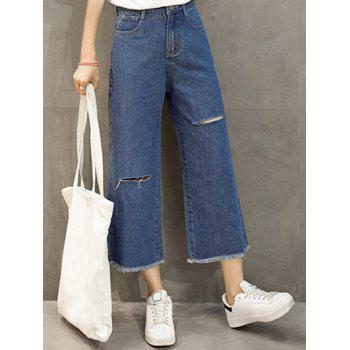 Casual Women's Wide Leg Frayed Ankle Jeans