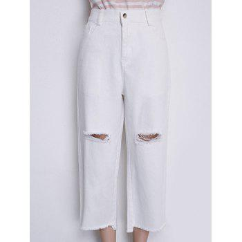 Casual Women's High Waisted Wide Leg Frayed Jeans