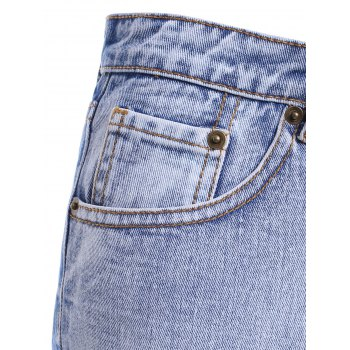 Stylish Women's High Waist Zipper Ripper Shorts For Women - DENIM BLUE XL