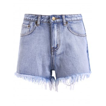Stylish Women's High Waist Zipper Ripper Shorts For Women - DENIM BLUE DENIM BLUE