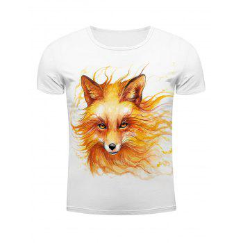 White Round Neck Cool Wolf Head Pattern Slimming Men's Short Sleeves 3D T-Shirt