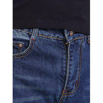Men's Solid Color Zipper Fly Jeans - DEEP BLUE 34