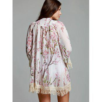 Fashionable Collarless Floral Print Tassel Embellished 3/4 Sleeve Women's Kimono Blouse - COLORMIX L