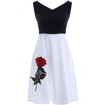 Buy Sweet V Neck Splice Embroidered Women's Dress WHITE/BLACK