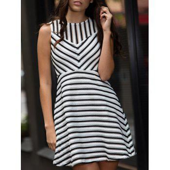 Stripe Mesh A Line Sleeveless Dress
