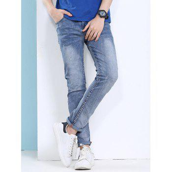 Slimming Narrow Feet Cat's Whisker and Scratch Design Men's Zipper Fly Jeans