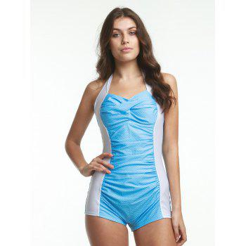 Halter Polka Dot Ruched One-Piece Swimwear - XL XL