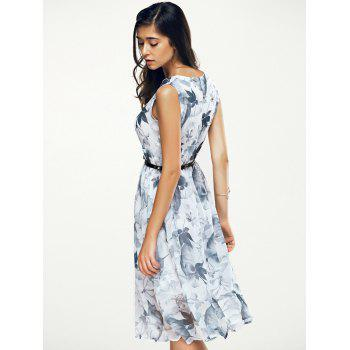 Jewel Neck Sleeveless Floral Print A Line Belted Dress - WHITE L