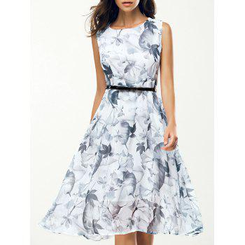 Jewel Neck Sleeveless Floral Print A Line Belted Dress