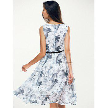 Jewel Neck Sleeveless Floral Print A Line Belted Dress - WHITE WHITE