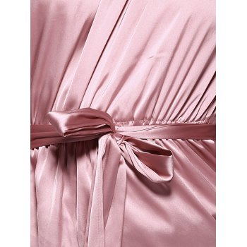 Off The Shoulder Belted Bell Sleeve Pleated Blouse - LIGHT PINK LIGHT PINK