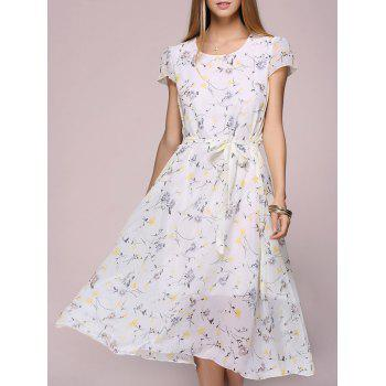 Cap Sleeve Floral Chiffon Swing Dress