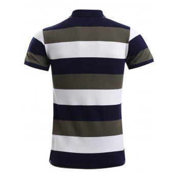 Cotton Blends Color Block Stripe Letter Print Turn-Down Collar Short Sleeve Polo T-Shirt - ARMY GREEN XL