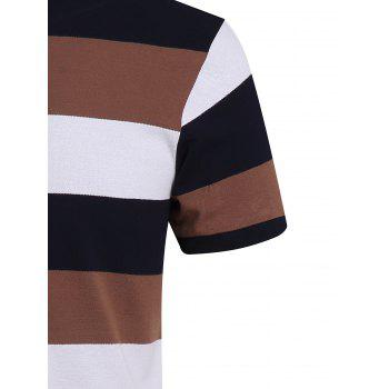 Cotton Blends Color Block Stripe Letter Print Turn-Down Collar Short Sleeve Polo T-Shirt - KHAKI KHAKI