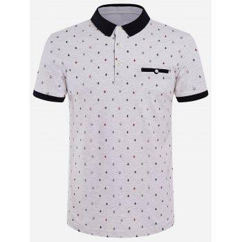 Cotton Blends Color Block Spliced Printed Turn-Down Collar Short Sleeve Polo T-Shirt - GRAY GRAY