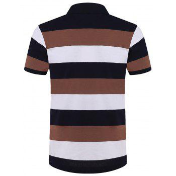 Cotton Blends Color Block Stripe Lettre Imprimer Turn-Down Collar courtes T-shirt à manches Polo - Kaki XL