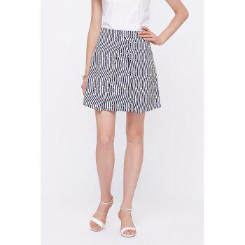 Polka Dot Print Striped Skirt
