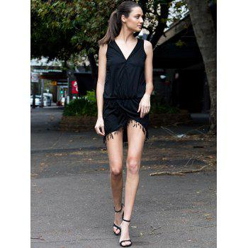Chic Sleeveless Plunging Neck Asymmetrical Women's Dress - BLACK M