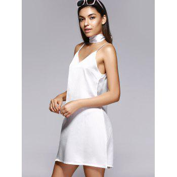 V Neck Mini Cami Slip Robe en satin - Blanc L