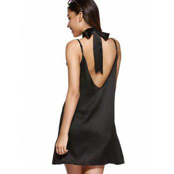 V Neck Mini Cami Slip Satin Dress - BLACK M