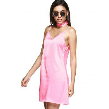 V Neck Mini Cami Slip Satin Dress - LIGHT PINK S