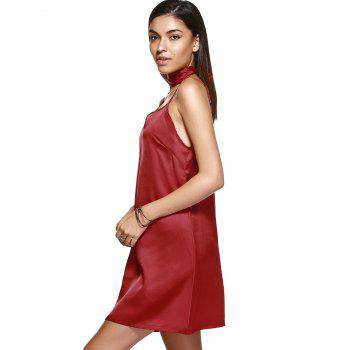 V Neck Mini Cami Slip Satin Dress - WINE RED M