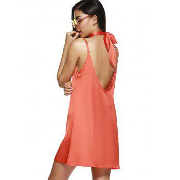 V Neck Mini Cami Slip Robe en satin - Orange L