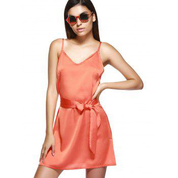 V Neck Mini Cami Slip Satin Dress - ORANGE S