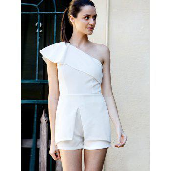Fashionable One Shoulder White Flounce Sleeveless Romper For Women - WHITE XL