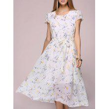 Floral Print Chiffon Tea Length Dress