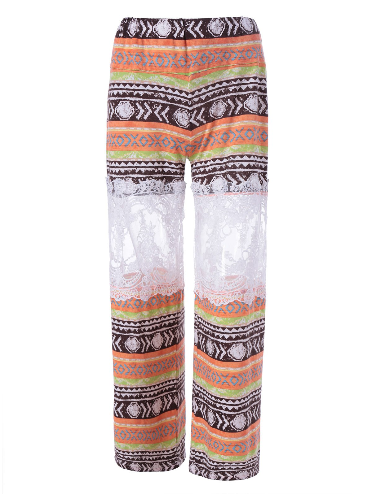 Stylish Printed Lace Stitching Pants For Women - COLORMIX L
