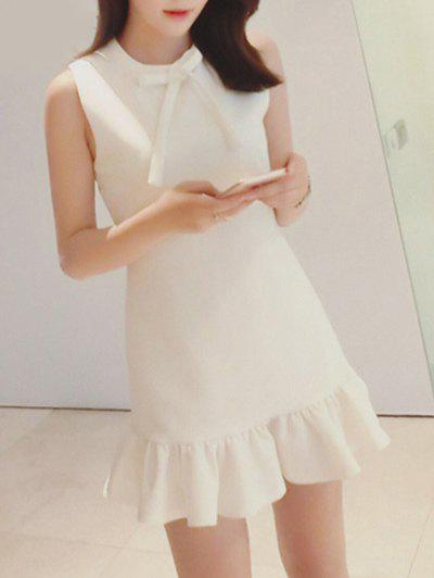 Sweet Women's Sleeveless Pure Color Bowknot Fishtail Dress