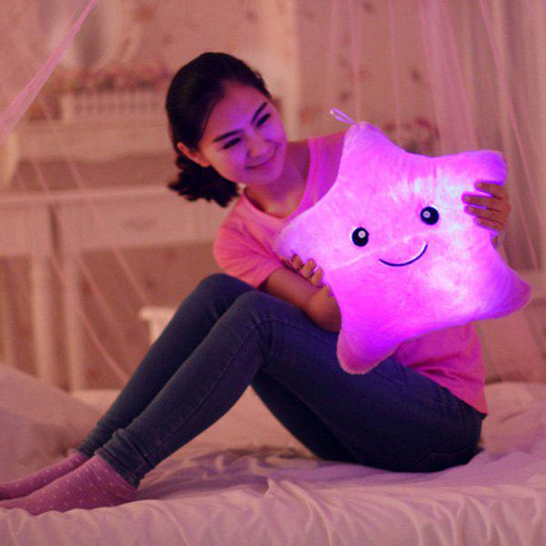 Stylish Lucky Star Shape Gift Luminous Smiling Face Musical Pillow - LIGHT PURPLE