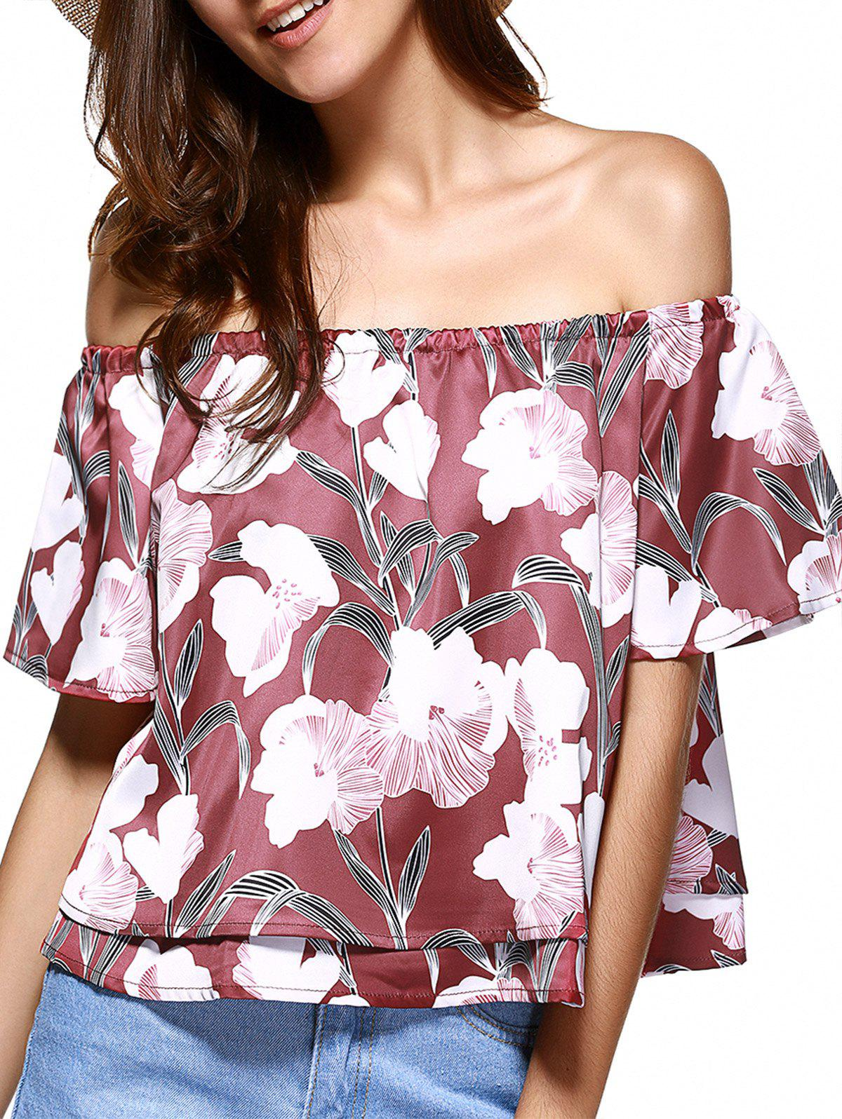 Off The Shoulder Floral Pattern Layered Blouse - BRICK RED 2XL