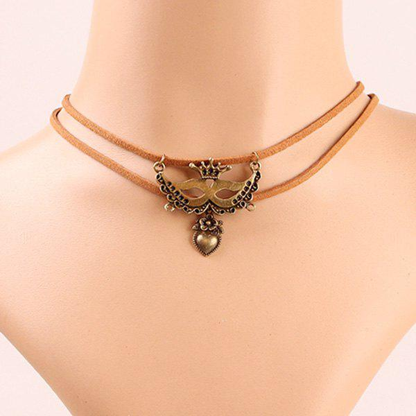 Layered Mask and Heart Choker Necklace - BROWN